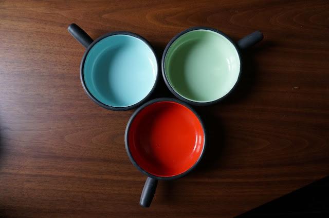 vintage enamel 60s bowl enamelware email pot années 60 1960s