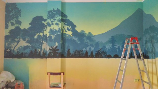 Lukisan Pemandangan Alam Gunung Pantai 3 Dimensi Gambar Tiga