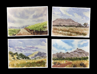 Small water colour study works of landscapes by Manju Panchal