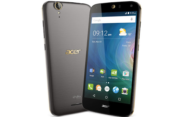 Acer Liquid Z630S Specifications - LAUNCH Announced 2015, September DISPLAY Type IPS LCD capacitive touchscreen, 16M colors Size 5.5 inches (~68.8% screen-to-body ratio) Resolution 720 x 1280 pixels (~267 ppi pixel density) Multitouch Yes BODY Dimensions 156.3 x 77.5 x 8.9 mm (6.15 x 3.05 x 0.35 in) Weight 165 g (5.82 oz) SIM Single SIM (Micro-SIM) or Dual SIM (Micro-SIM, dual stand-by) PLATFORM OS Android OS, v5.1 (Lollipop) CPU Octa-core 1.3 GHz Cortex-A53 Chipset Mediatek MT6753 GPU Mali-T720MP3 MEMORY Card slot microSD (dedicated slot) Internal 32 GB, 3 GB RAM CAMERA Primary 8 MP, autofocus, LED flash Secondary 8 MP Features Geo-tagging, touch focus, face detection, HDR, panorama Video 1080p@30fps NETWORK Technology GSM / HSPA / LTE 2G bands GSM 850 / 900 / 1800 / 1900 - SIM 1 & SIM 2 (dual-SIM model only) 3G bands HSDPA 900 / 1900 / 2100 4G bands LTE Speed HSPA, LTE GPRS Yes EDGE Yes COMMS WLAN Wi-Fi 802.11 b/g/n, hotspot NFC No GPS Yes, with A-GPS USB microUSB v2.0, USB On-The-Go Radio  Bluetooth v4.0, A2DP FEATURES Sensors Accelerometer, proximity, compass Messaging SMS(threaded view), MMS, Email, Push Mail, IM Browser HTML5 Java No SOUND Alert types Vibration; MP3, WAV ringtones Loudspeaker Yes 3.5mm jack Yes  - DTS sound  - Active noise cancellation with dedicated mic BATTERY  Removable Li-Po 4000 mAh battery (15.2 Wh) Stand-by  Talk time  Music play  MISC Colors Black, Gold  - MP3/WAV/AAC/Flac player - MP4/H.264 player - Photo/video editor - Document viewer