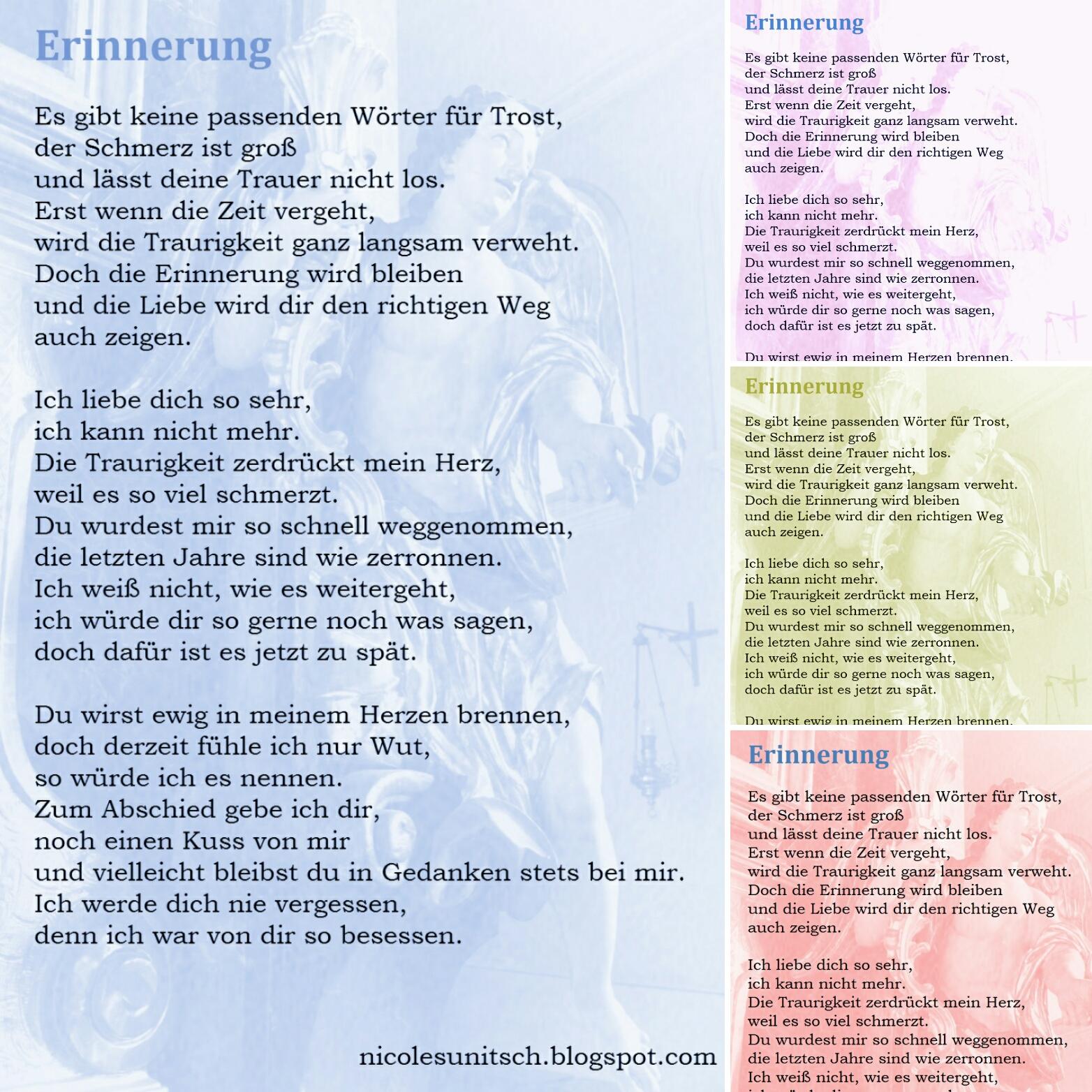 Gedichte Von Nicole Sunitsch Autorin Erinnerung Von Nicole