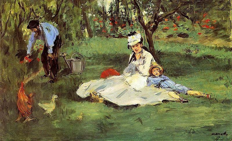A Família Monet no Jardim - Pinturas impressionistas pintadas por Édouard Manet