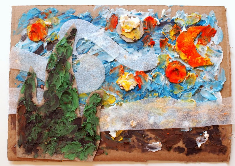 Paint Van Gogh's Starry Night with homemade finger paint.  Only 3 ingredients needed!