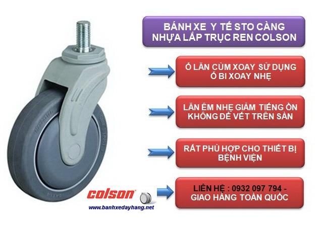 Bánh xe cao su càng nhựa ty ren M12 Colson phi 150 | STO-6854-448 www.banhxepu.net