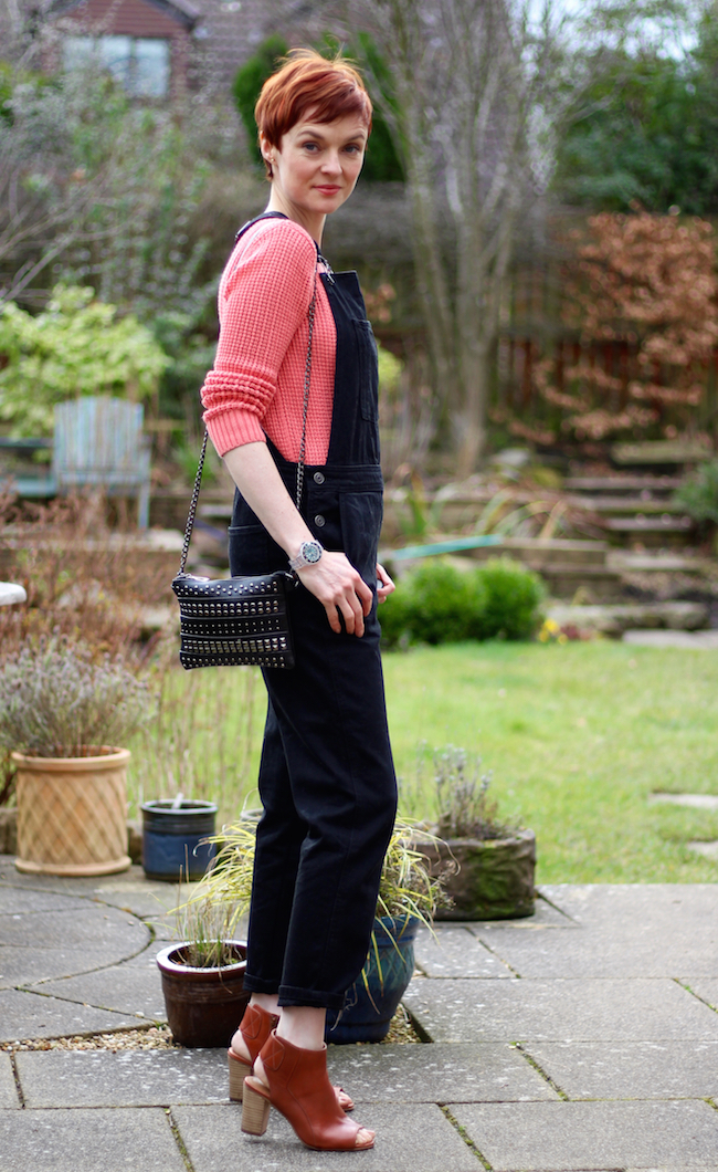 Fake Fabulous | Dungarees, over 40. Black and coral.