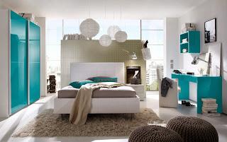 Habitación turquesa gris