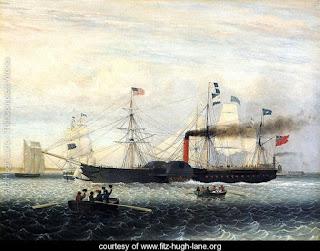 Der Dampfsegler Britannia erreicht den Hafen von Boston, MA