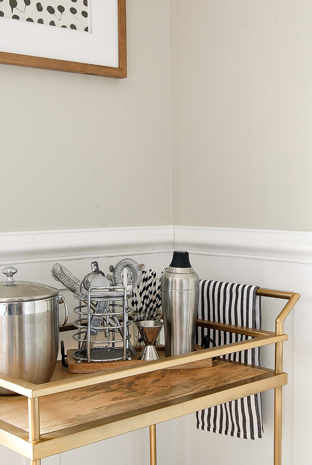 Brass and wood styled bar cart