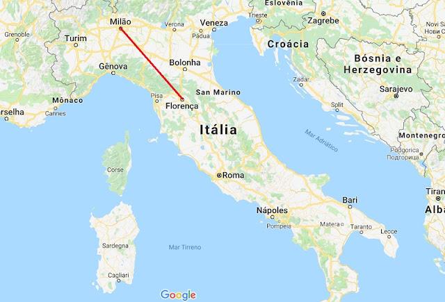 Mapa da viagem de Florença para Milão