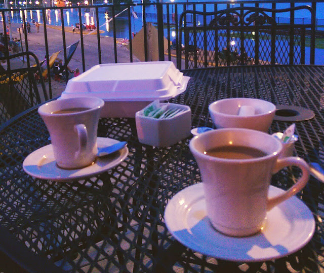 patio table with coffee at night