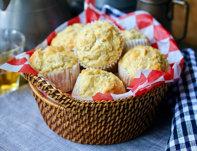 Beer, cheese, and Dijon muffins