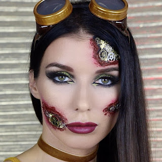steampunk makeup how to glue gears to your face skin bloody wound gears