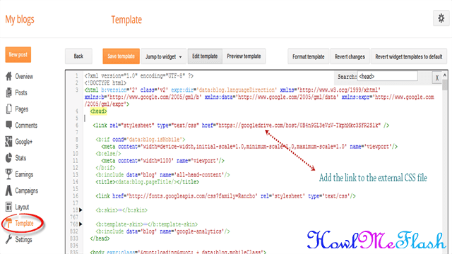 add external css style sheet file to blogger