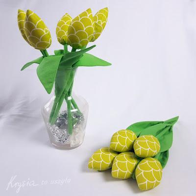 Krysia to uszyła - szyte bawełniane tulipany rękodzieło artystyczne
