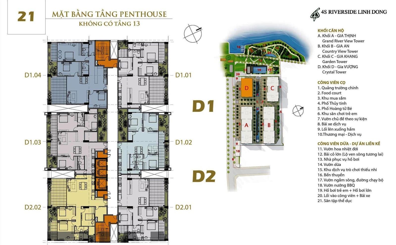 Mặt bằng dự án căn hộ 4S Linh Đông Block D Gia Vượng tầng 21