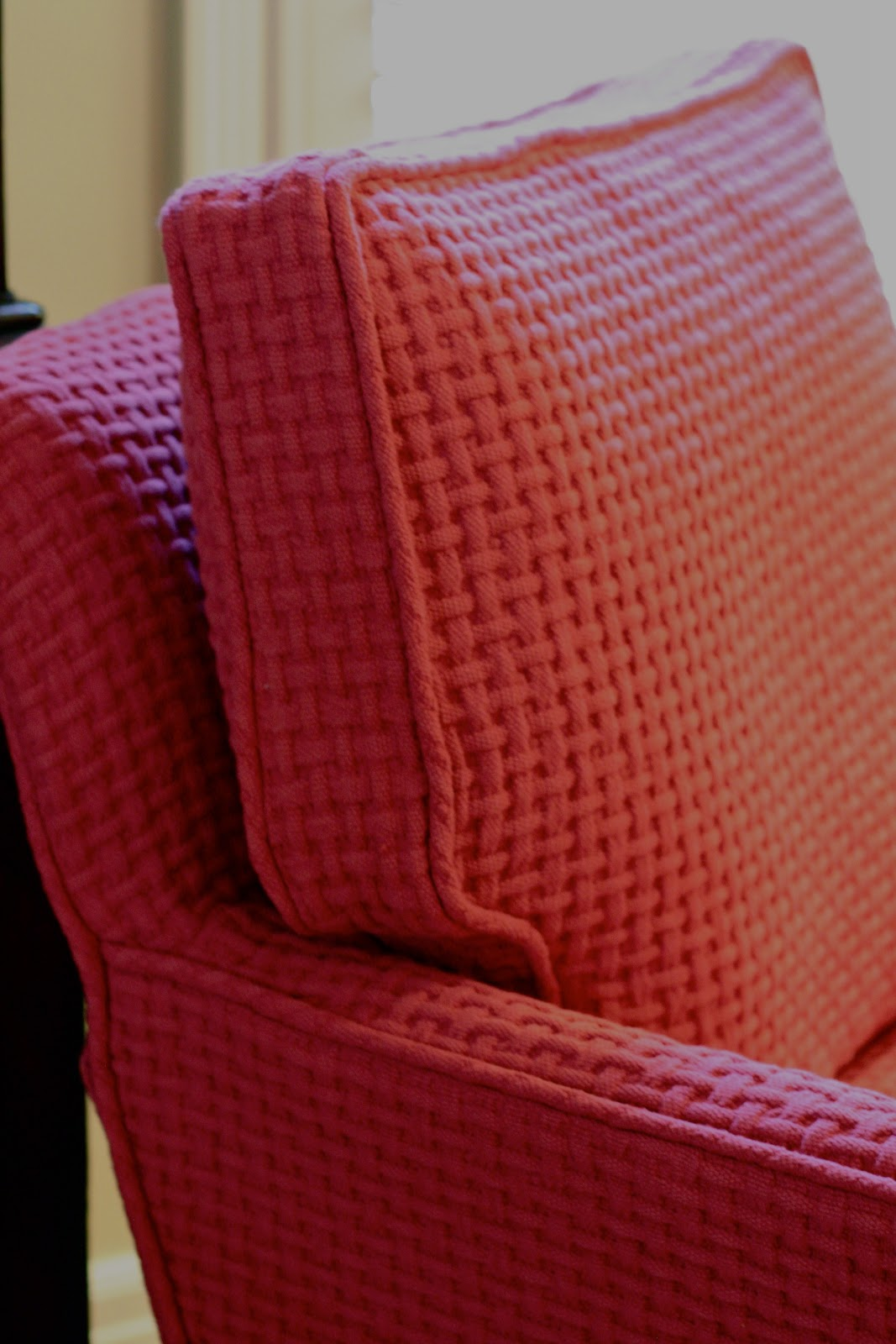 Custom Slipcovers By Shelley Red Basket Weave Chair