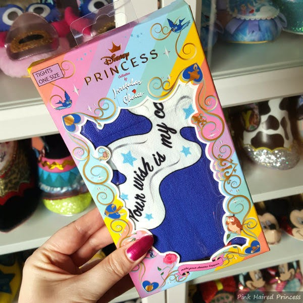 boxed Genie Aladdin printed tights with shoe shelves in background