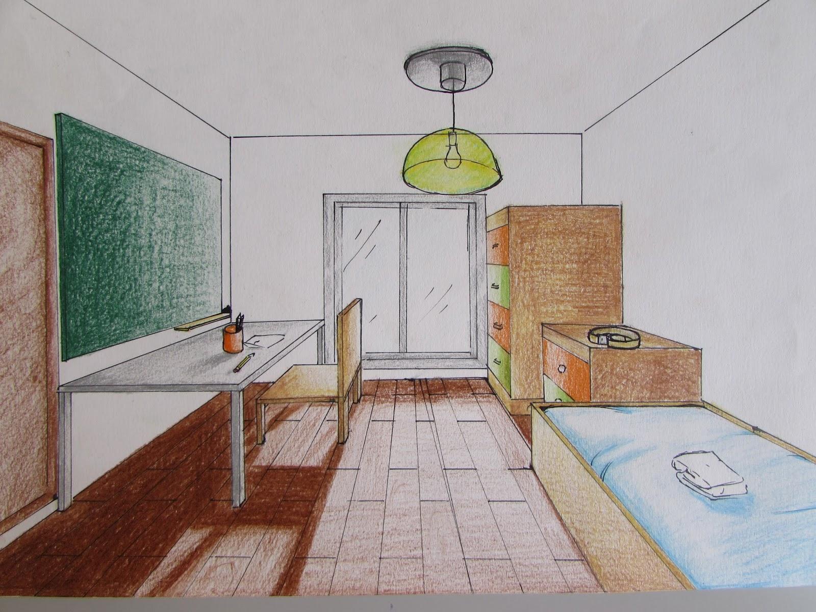 Pl stica escola p a castell n tu habitaci n en perspectiva for Dormitorio para dibujar facil