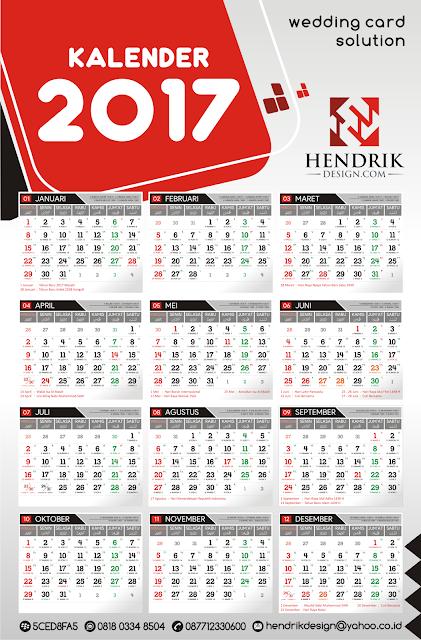 Download Kalender 2017 cdr vector GRATIS komplit nasional dan islami