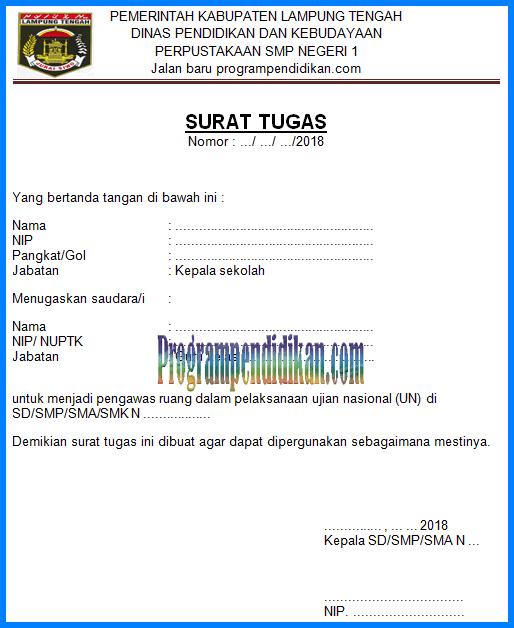 surat tugas pengawas UN