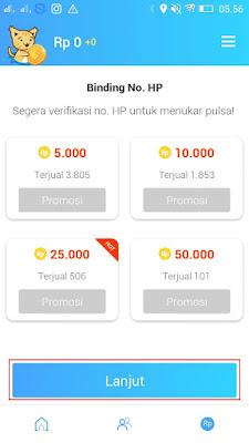 cara verifikasi nomor handphone di aplikasi reward plus
