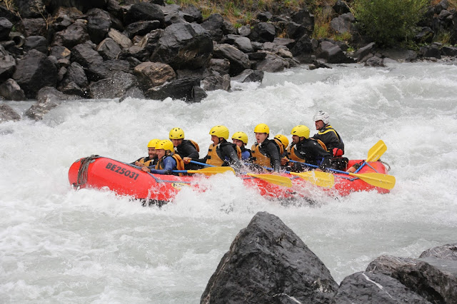 White water rafting in the glacial waters of Jungfrau, Swiss alps