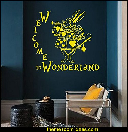Wall Decals Quotes Welcome to Wonderland Quote Rabbit Sayings Alice in Wonderland Design Children's Girl Boy Any Room Nursery Kids Vinyl Decal Sticker Home Décor Murals