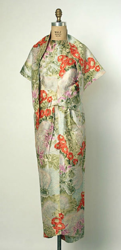 Evening Gown by Cristobal Balenciaga in 1960 featuring a Kimono Style and Print