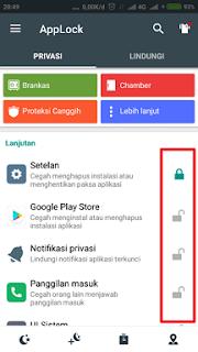 Pilih aplikasi yang ingin dilindungi / lock