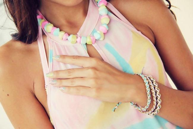 pastel colors jewelry, pastel bracelets and pastel necklace
