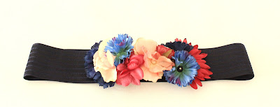 PV 2018 Azul Marino Fucsia - Cinturon floral elastico3
