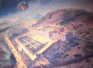 Pintura a vista aérea del palacio de la Florida. Un recinto tapiado frente al río con jardines geométricos delante del edificio y corrales anexos.