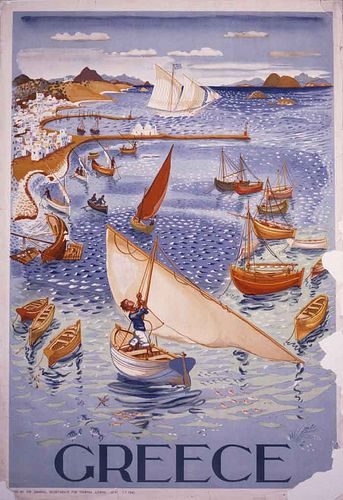 Vintage Greek travel poster by Spiro Bassiliou 1947