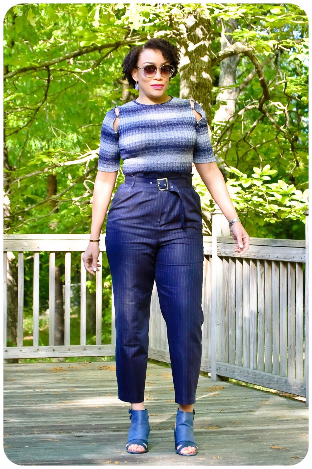 bdcb6366b7232 The pants are my 3rd version of McCall's 7726 (I made a pair for Mikaela  too). My fabric is this amazing Italian Navy Pin Striped Blended Linen  Woven from ...