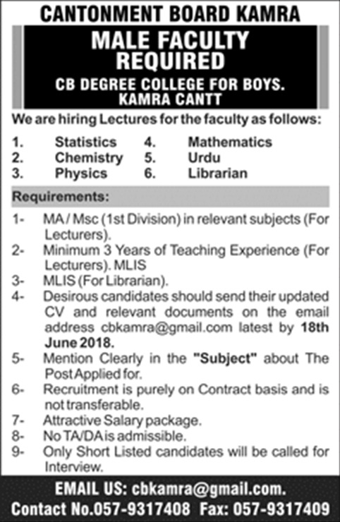 CB Degree College for Boys Kamara Cantt Latest Jobs for Male 2018