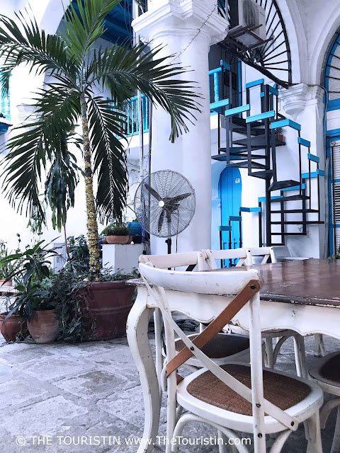 Courtyard decorated in white and blue with palm trees at Café Bohemia in Havana in Cuba