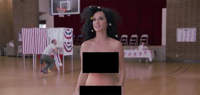 Katy Perry hace promoción al voto... ¡totalmente desnuda!