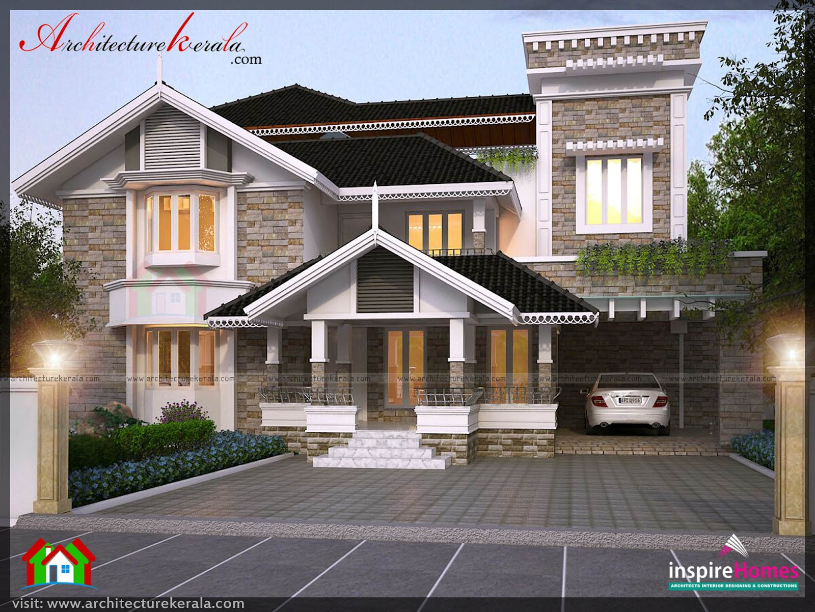 Four bedroom house plan and elevation architecture kerala for Four bedroom house plans in kerala