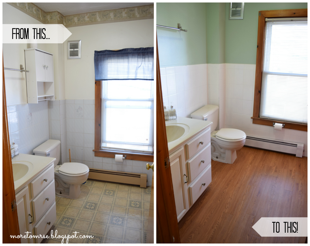 Install peel and stick vinyl floor planks in the bathroom more to see part 1 and part 2 of this series to see where we came from and how i transformed this bathroom what do you think worth the time it took to transform dailygadgetfo Gallery