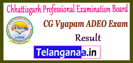 CG VyapamChhattisgarh Professional Examination Board ADEO Exam Result 2017