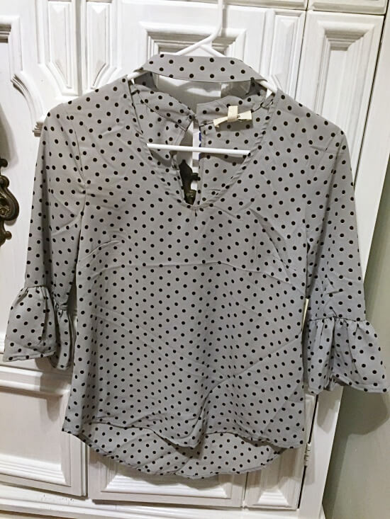 Meraki gray polka dot blouse