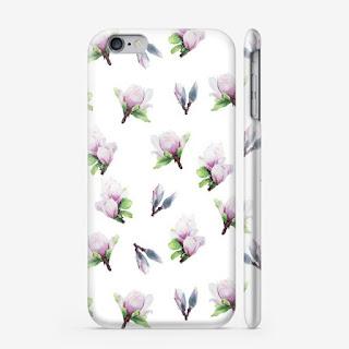 Chehol dlya i-phone s printom magnoliya na belom  | Inna Yakuskeva's blog