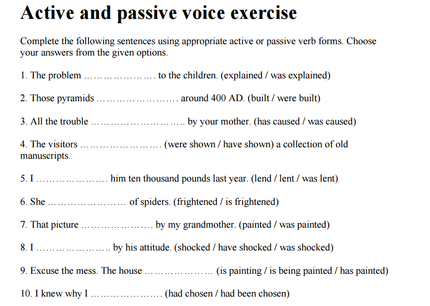 Grade 5 Au0026#39;s English Blog: Active passive exercises...In ...