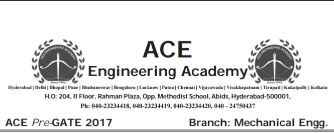 Ace Academy Pre Gate Test Paper Mechanical