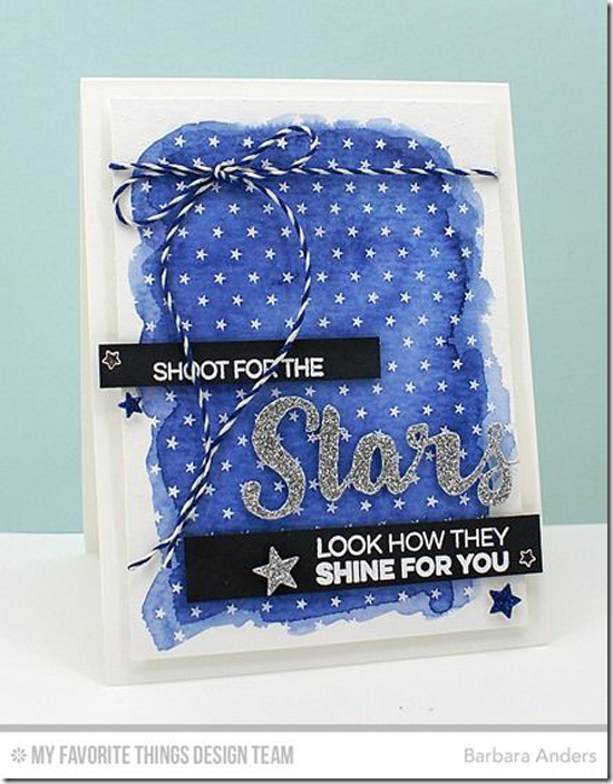 Look How They Shine for You Card by Barbara Anders featuring the Laina Lamb Design Count the Stars stamp set and Stars & Wishes Die-namics, the Tiny Stars Background stamp, and the Blueprints 25 and Scattered Stars Die-namics #mftstamps