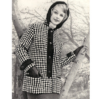 Hooded Plaid Coat Knitting Pattern