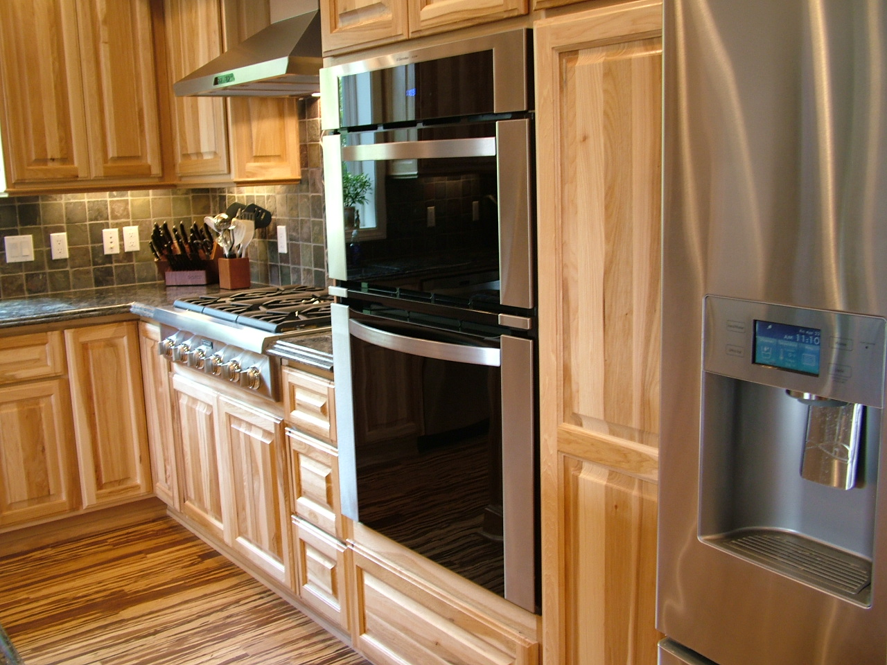 Hickory Kitchen Cabinets with Wood Floors