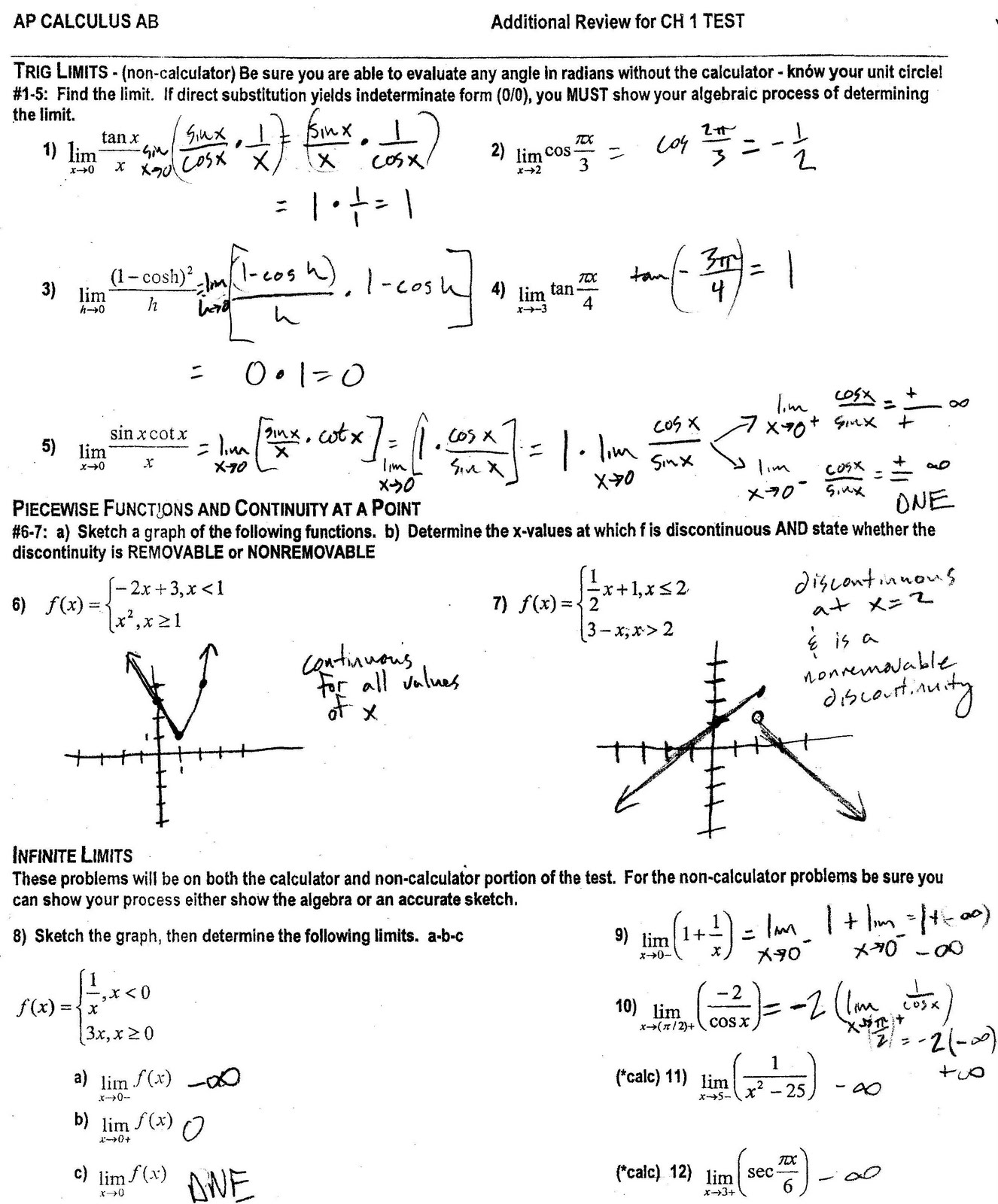 Ap Calculus Worksheets With Answers