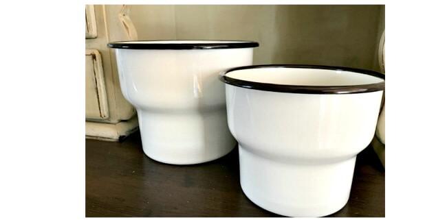 IKEA enamelware plant pots