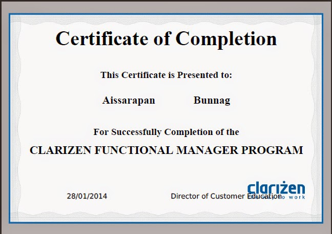 Certificate Clarizen Project Management Functional Manager Program